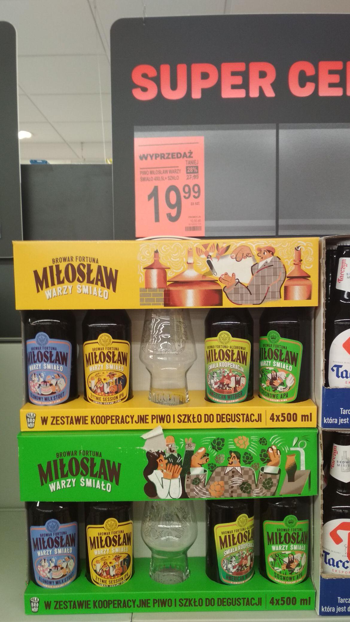 Piwo Miłosław 4x500 ml + szklanką
