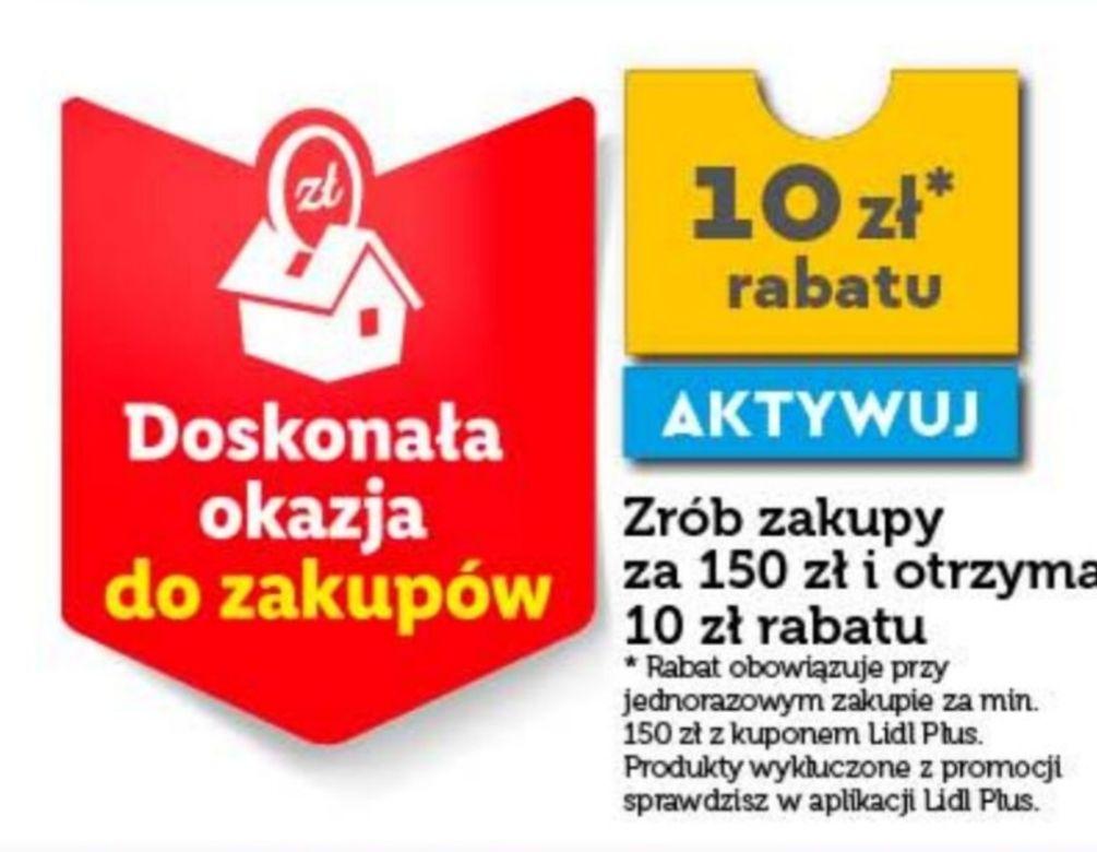 Lidl 10zł rabatu przy zakupach za 150 zł