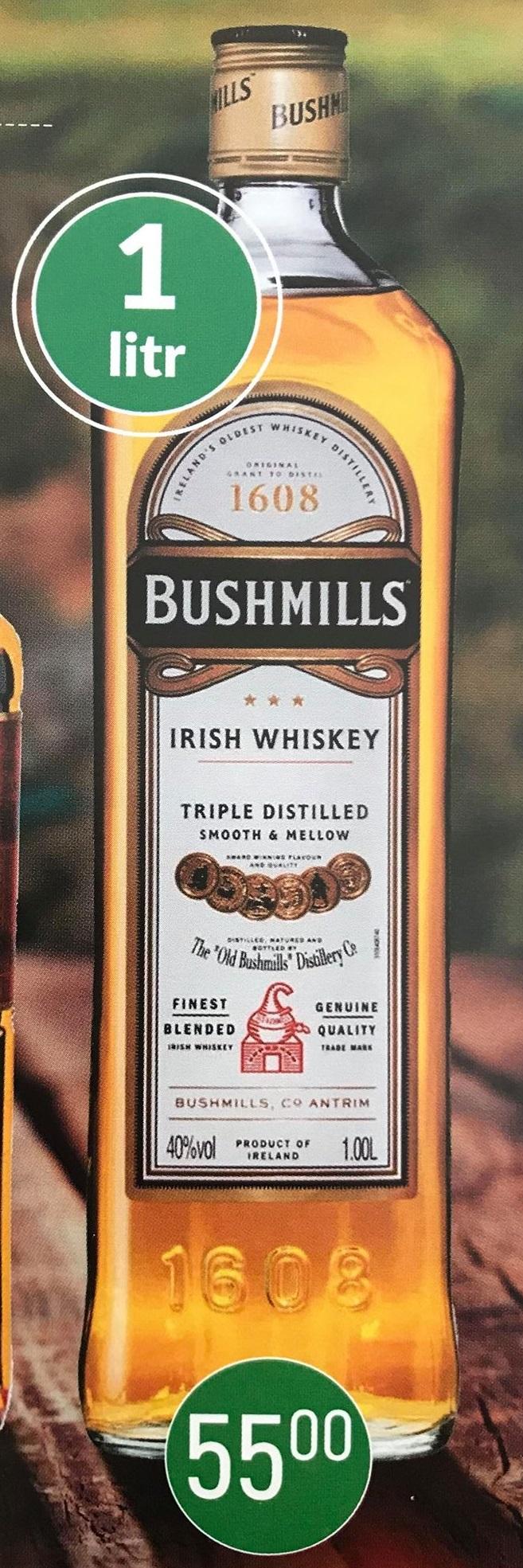 BUSHMILLS IRISH WHISKEY - 1 LITR. w cenie 55 zł Szczyrba Alkohole Mikołów