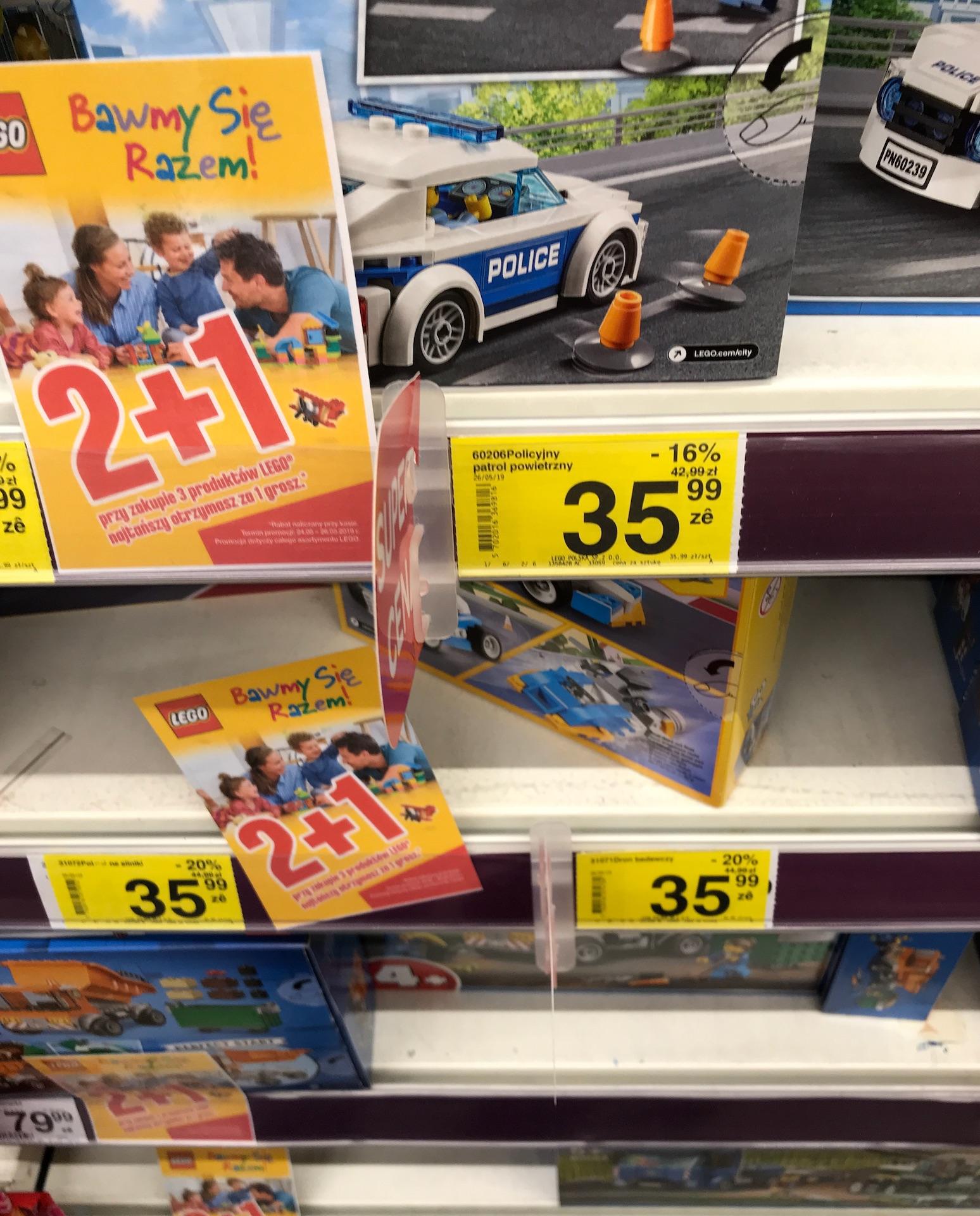 Dowolne LEGO 2+1 (trzeci za 1gr) Carrefour, dowolny mix zestawów