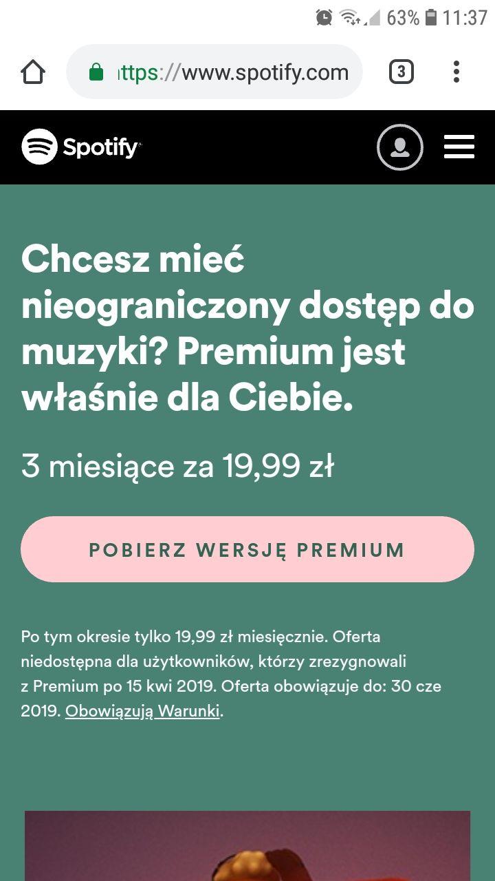 Spotify Premium 3 miesiące za 19,99zł