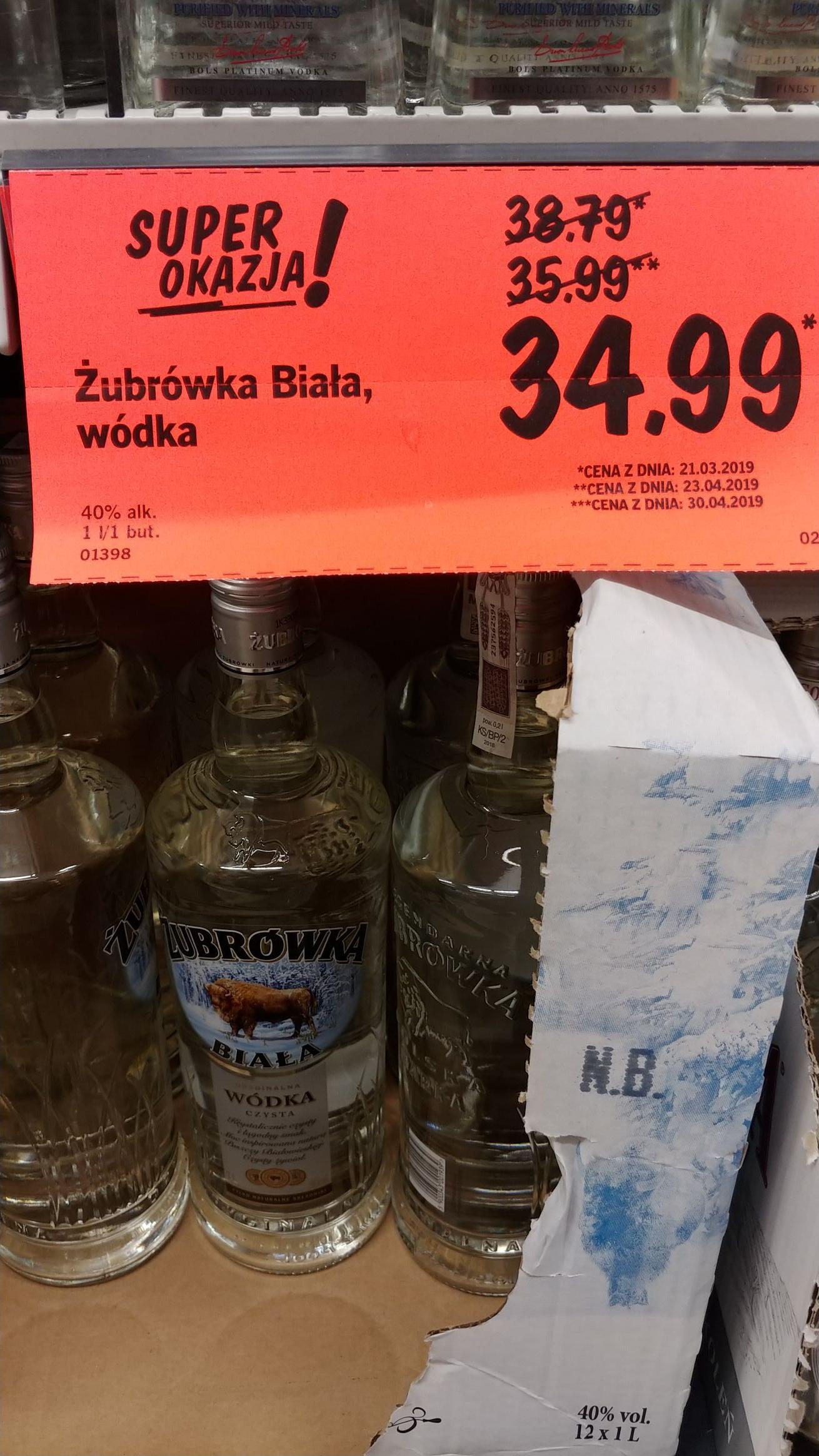 Wódka Żubrówka Biała 1L Lidl