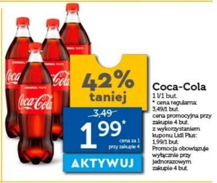 Coca-Cola 1 litr, cena przy zakupie 4 sztuk