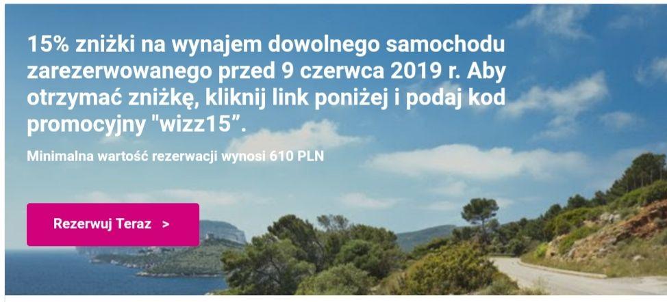 15% Rabatu na wynajem samochodu od Wizzair