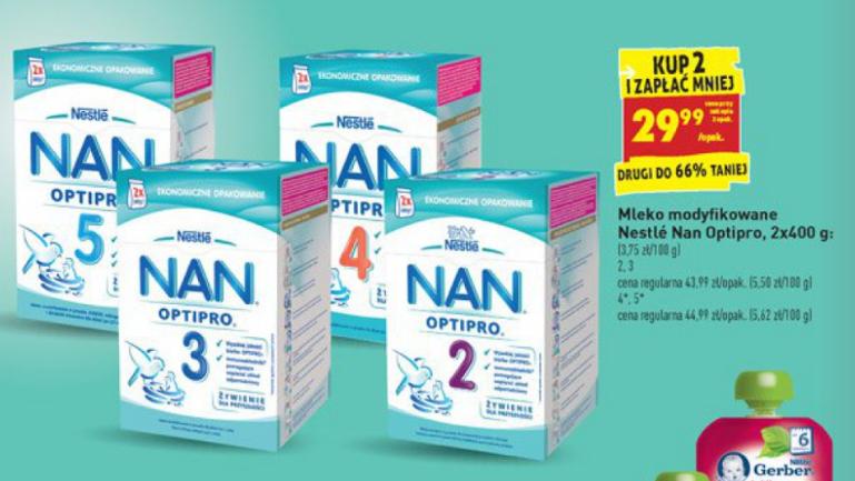 Mleko Nestle NAN 800g za 29,99zł przy zakupie dwóch sztuk @ Biedronka