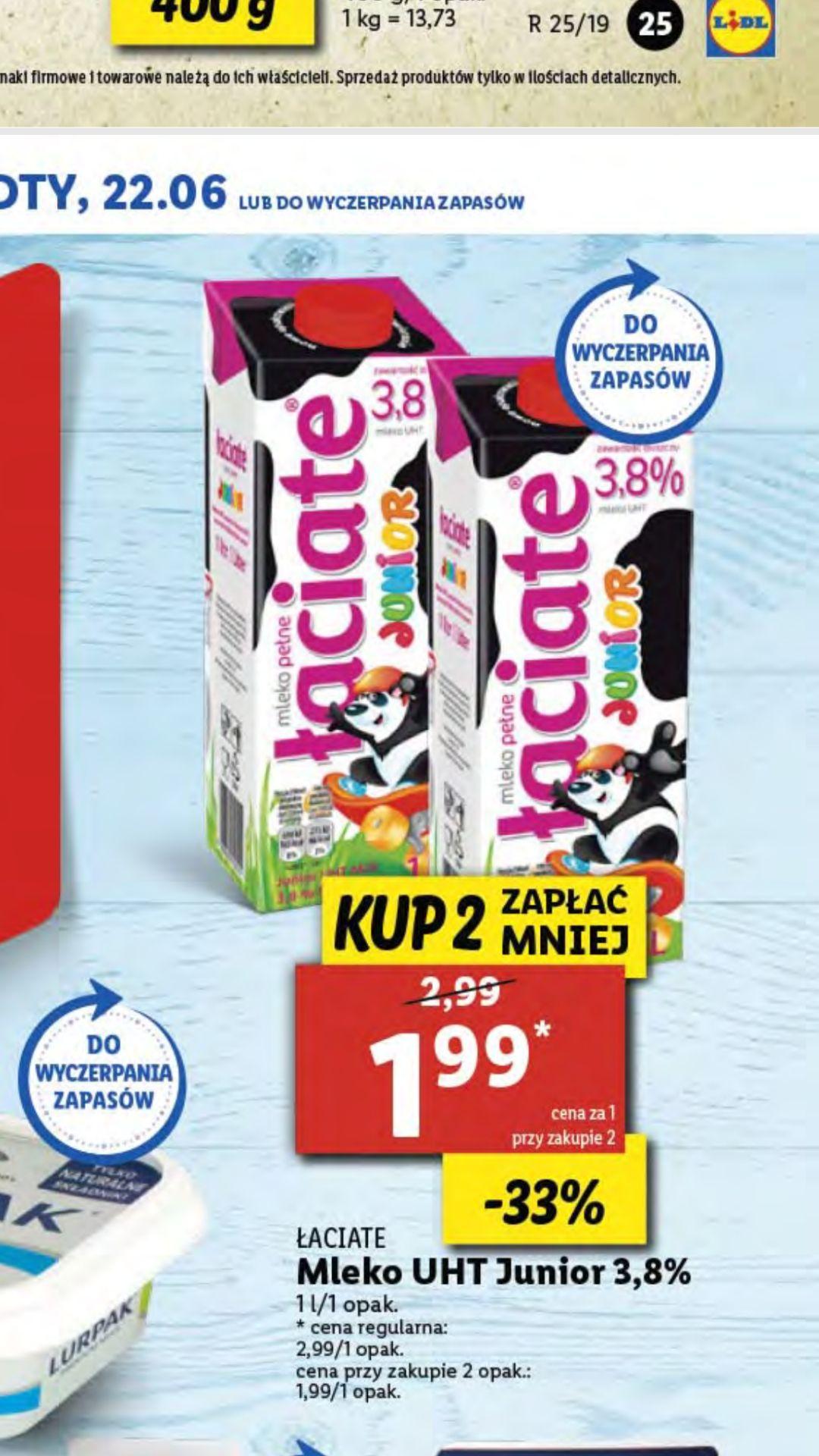 LIDL Mleko Łaciate Junior 3,8%  kup 2 zapłać 1,99zł/szt