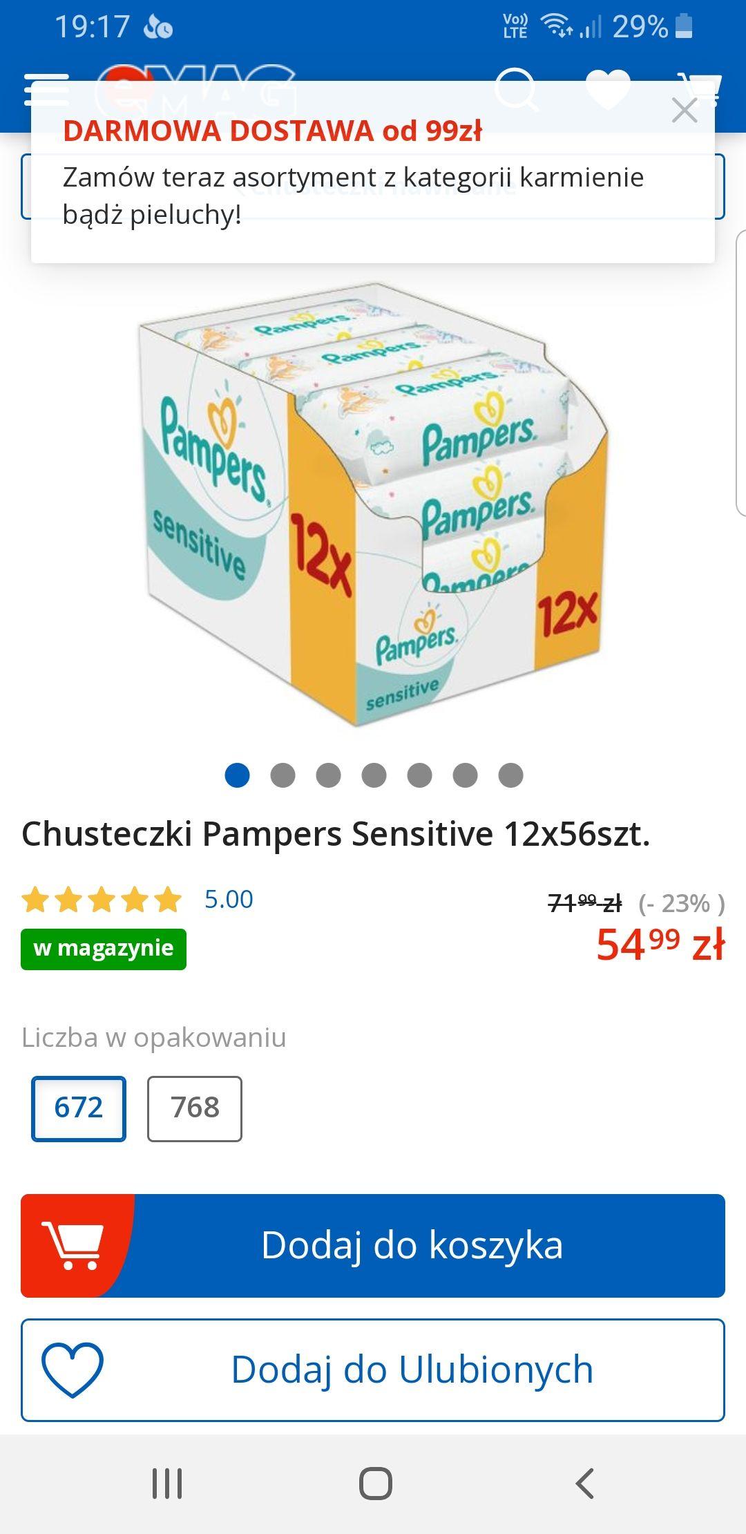 Chusteczki Pampers Sensitive 12x56