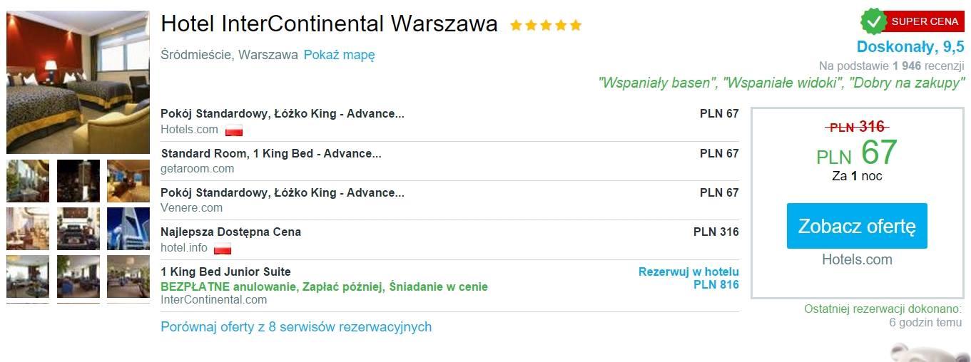 Nocleg w 5 gwiazdkowym hotelu InterContinental w Warszawie za rewelacyjne 67 PLN za noc!