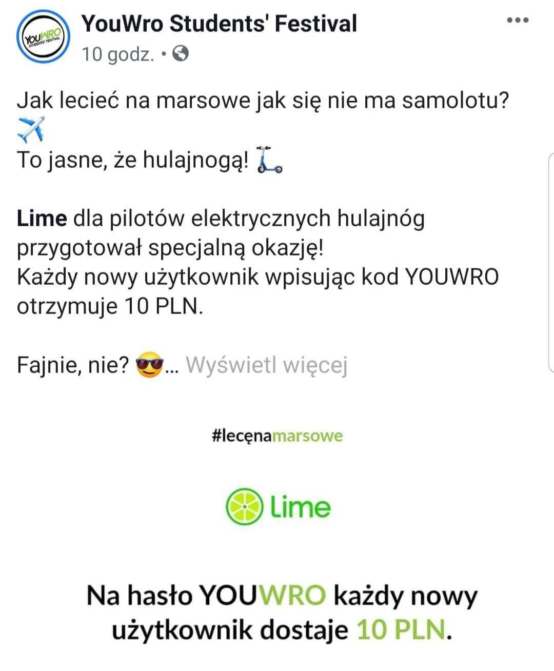 LIME - 10 zł tylko dla NOWYCH użytkowników