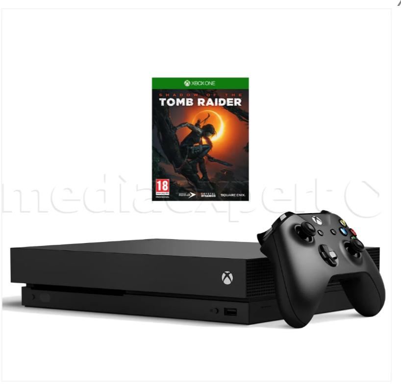 Xbox One X + gra Tomb Rider. Media Expert