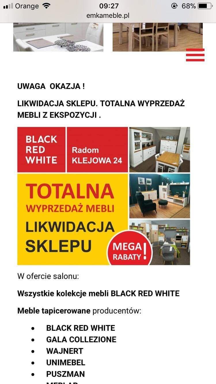BRW Black Red White Likwidacja wyprzedaż całego sklepu meble Radom Klejowa 24