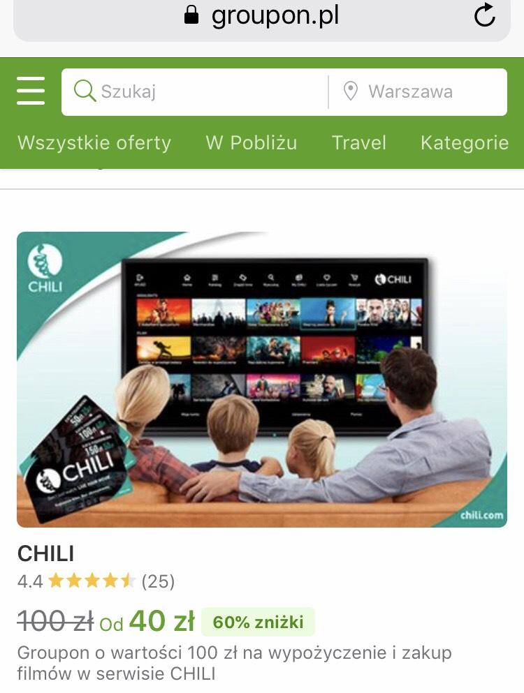 VOD CHILI Kino, oferty Groupon do 67% taniej