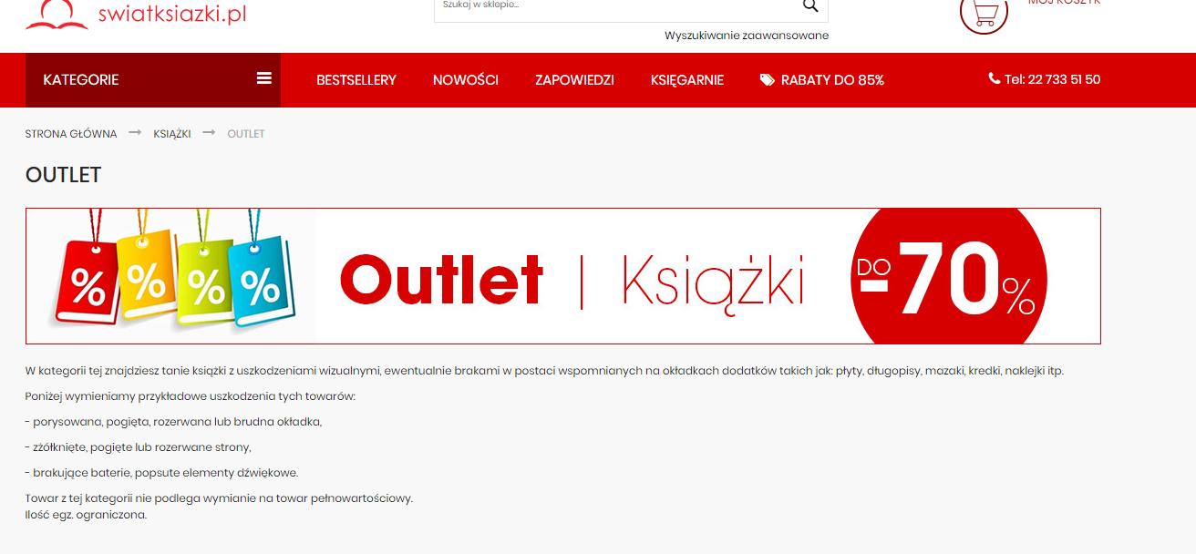 Outlet w Świat Książki dostępny online! [wszystko -70%]