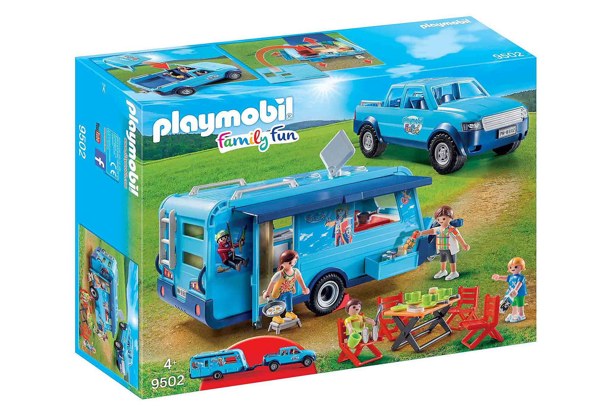 PLAYMOBIL 9502 Auto przyczepa kempingowa i rodzina