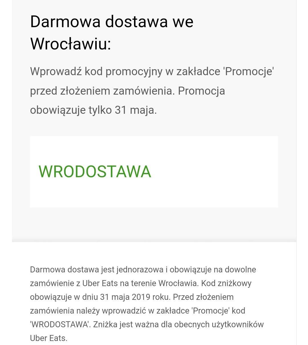 Darmowa dostawa na terenie Wrocławia Uber Eats (tylko dziś tj. 31.05)