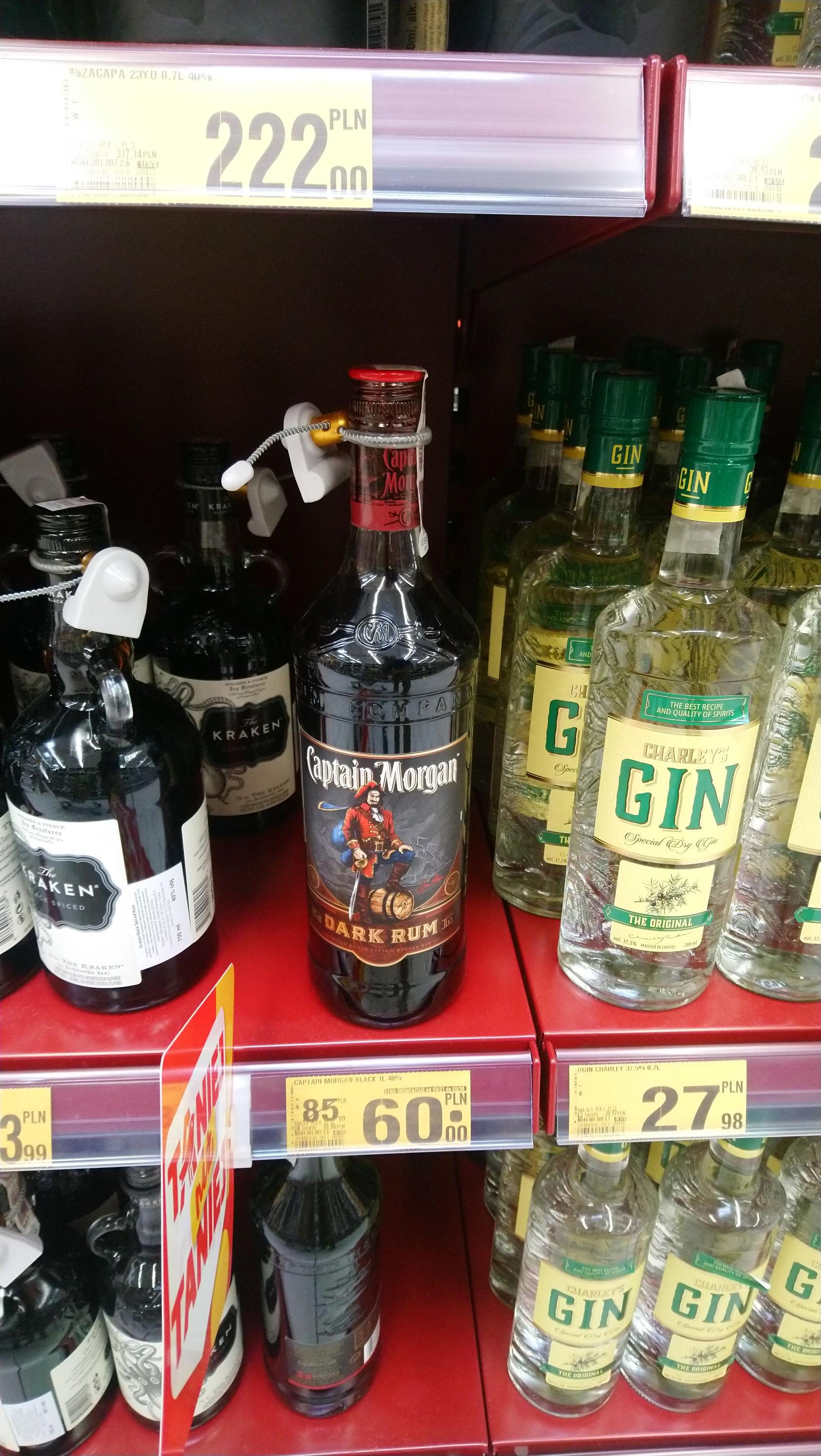 Dark Rum Captain Morgan 1L Auchan