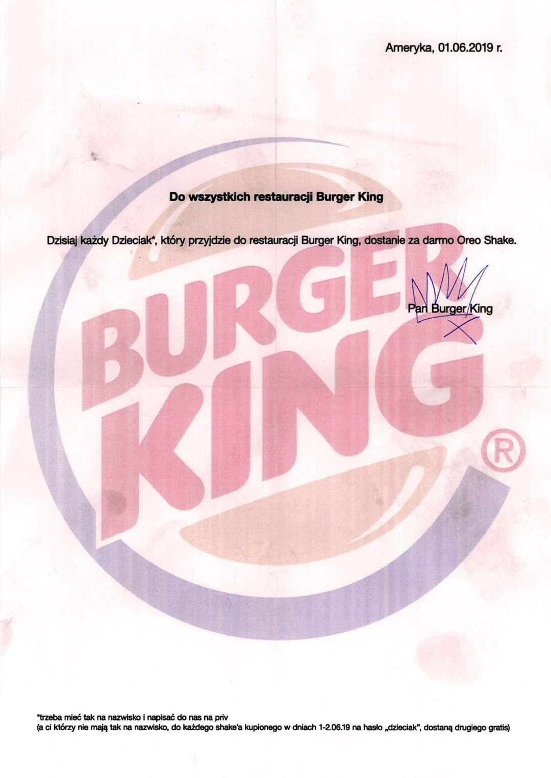 Drugi Shake Oreo  gratis @ Burger King