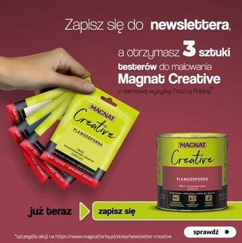 3 Darmowe próbki farby Magnat Creative za newsletter.