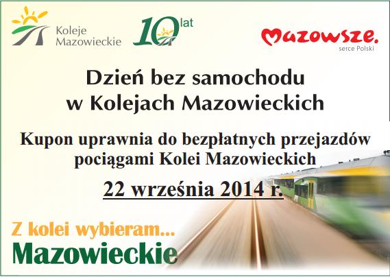 DARMOWE przejazdy Kolejami Mazowieckimi 22 września @ Koleje Mazowieckie