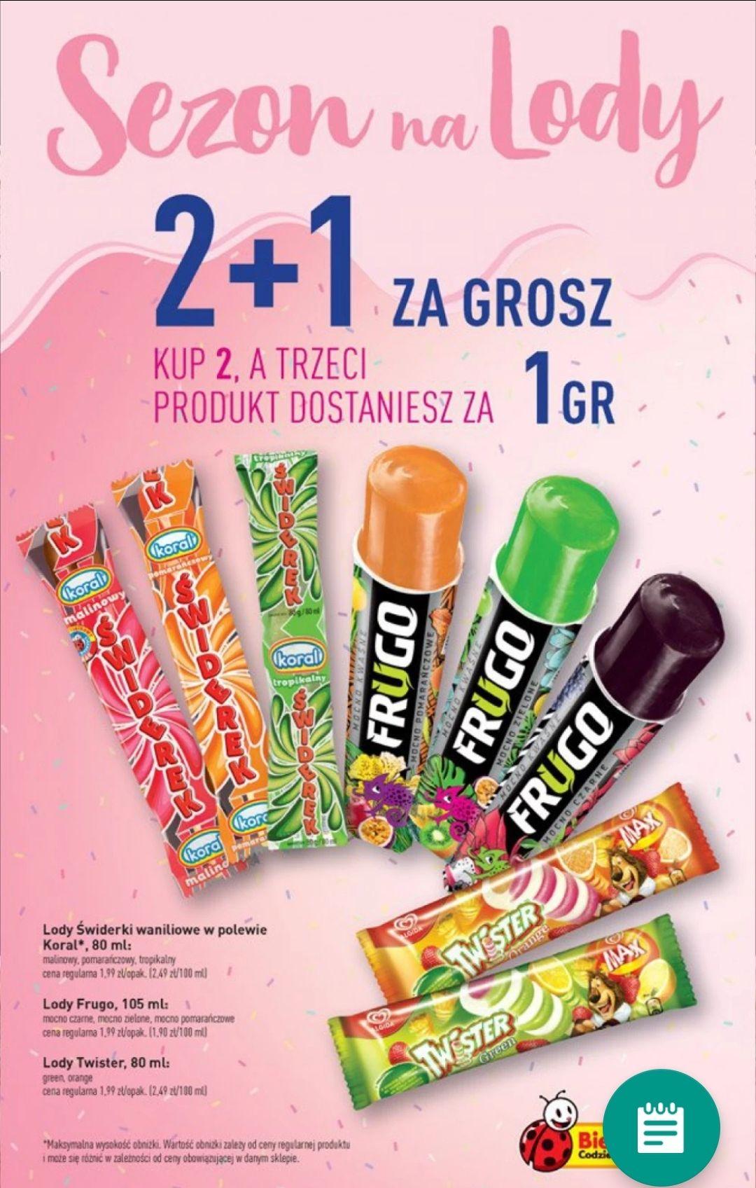 2+1 za grosz - Wybrane Lody Biedronka