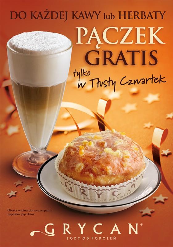 [Tłusty czwartek] Do każdej kawy lub herbaty pączek GRATIS @ Grycan