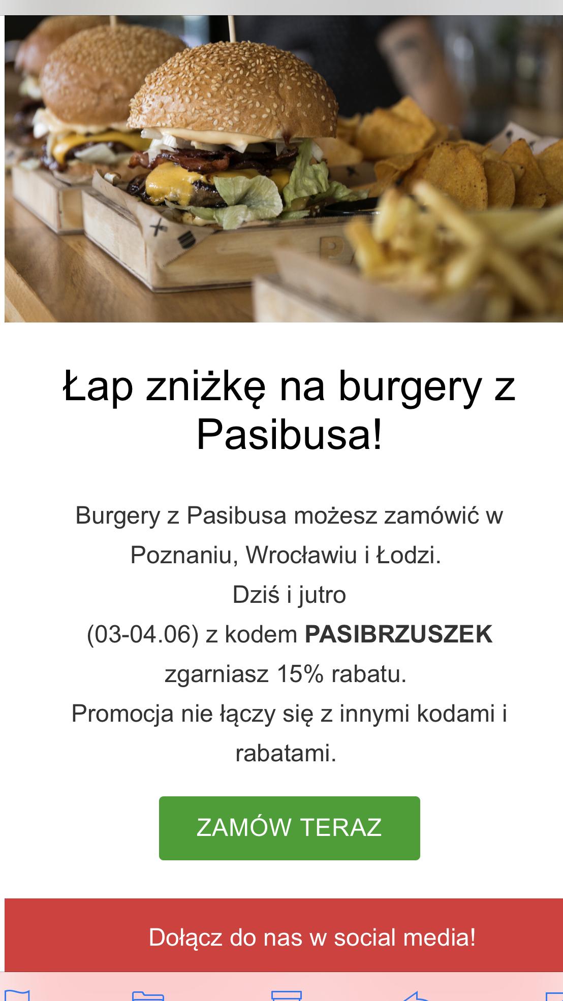 Glodny.pl - 15% na burgery w Pasibusie