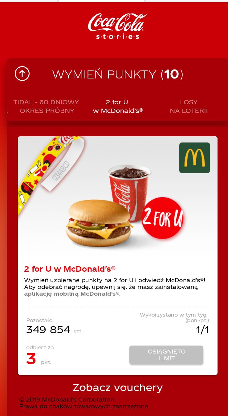 Zestaw 2 for you za 3 kody Coca Coli