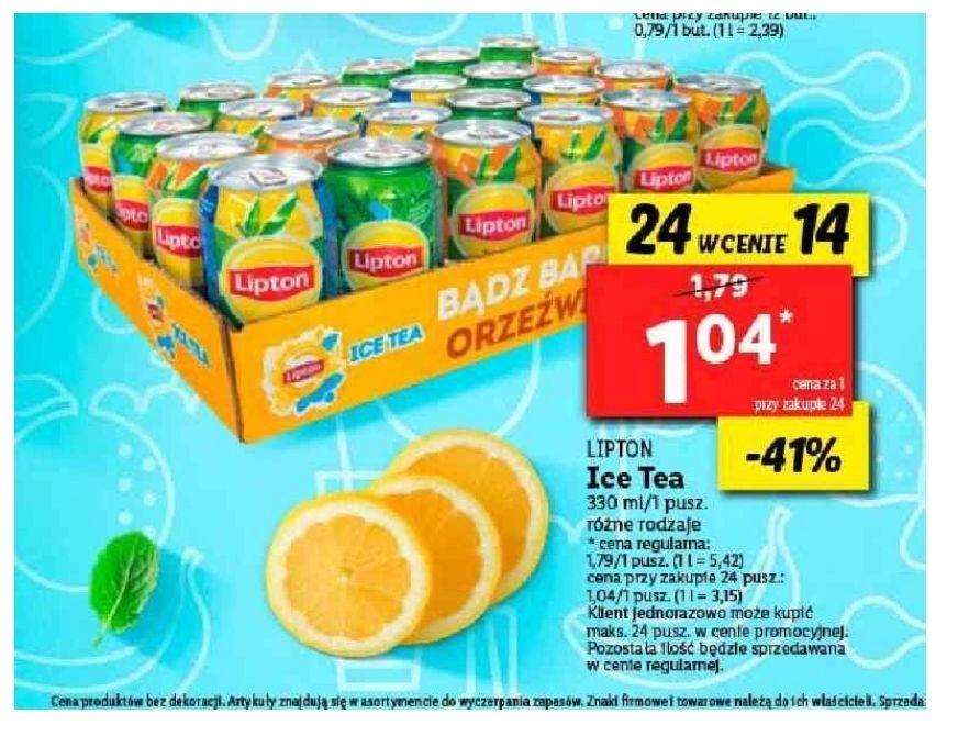 Promocja na Lipton Ice Tea 24 puszki w cenie 14. Lidl