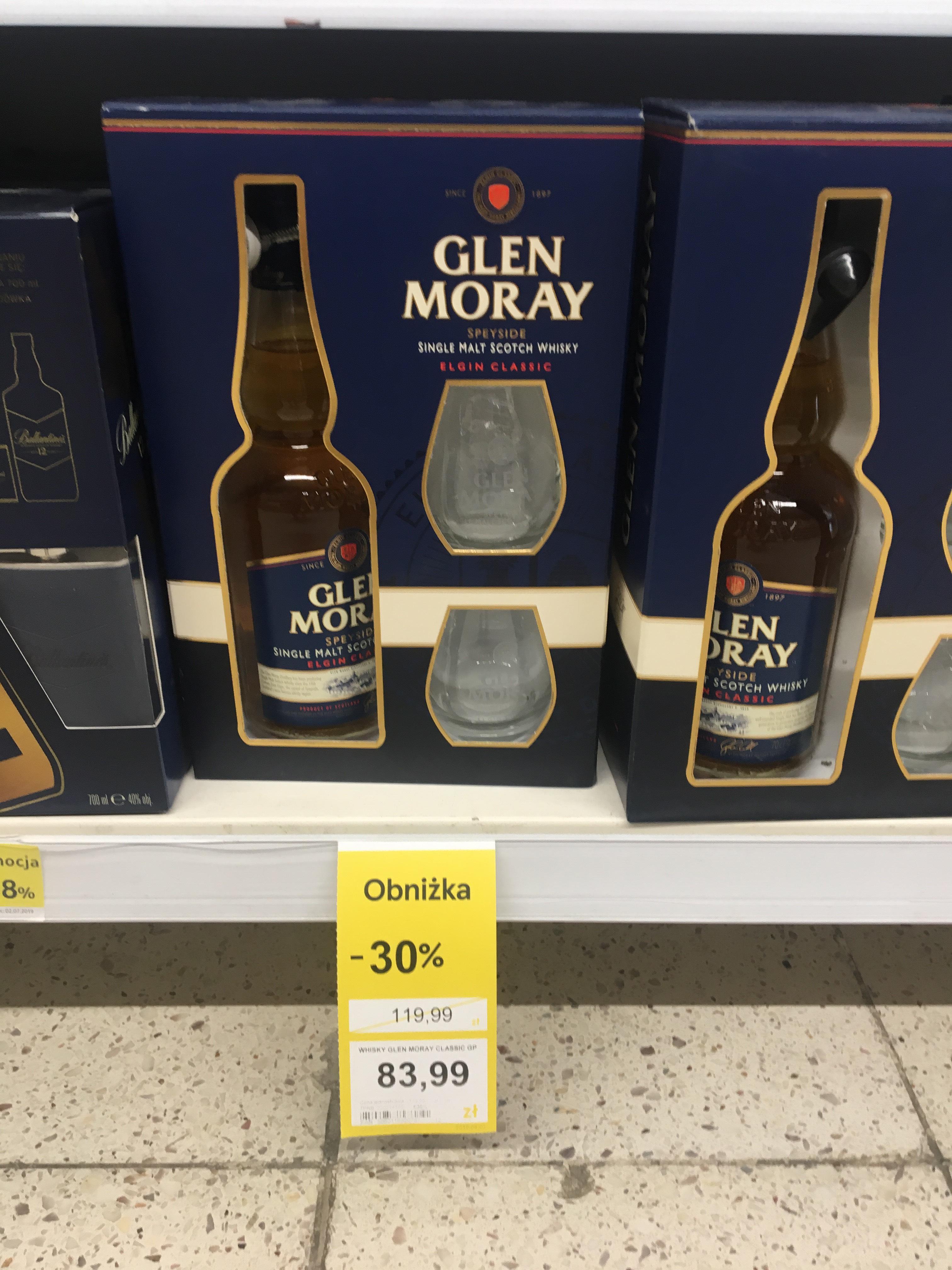 Whisky Glen Moray (single malt) 0,7 + szklanki