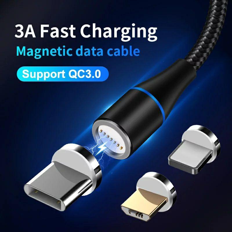 Magnetyczny kabel ładowania 3A .  Micro USB  , Usb-C , iPhone