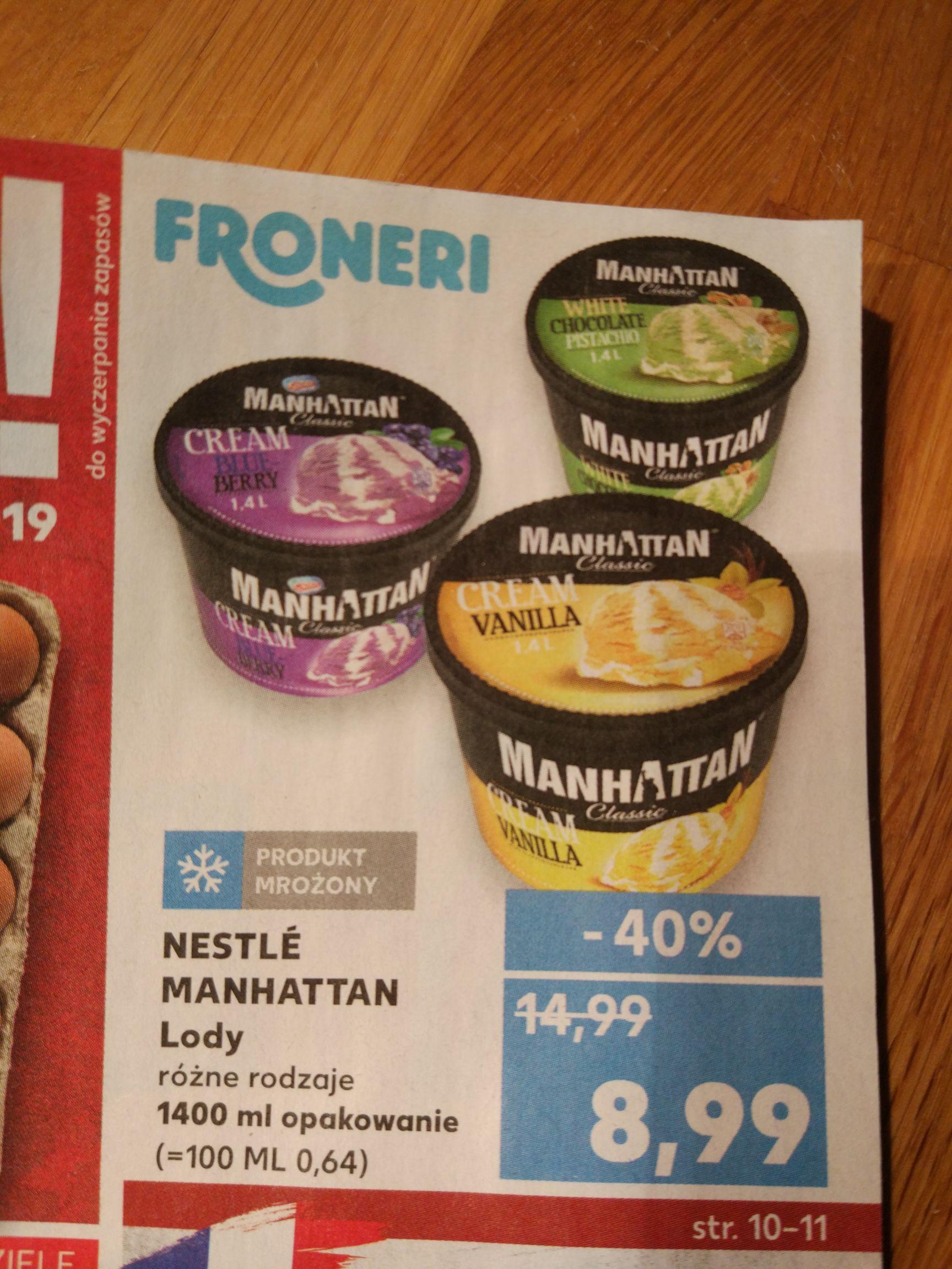 Lody Manhattan różne rodzaje 1400ml Kaufland