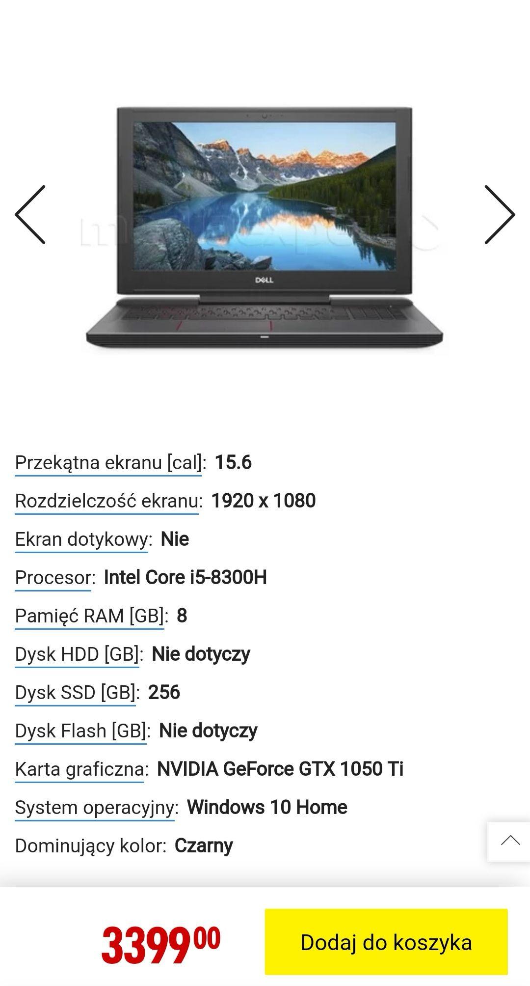 Laptop DELL Inspiron 15 G5 (5587-7482) i5-8300H 8GB 256 GB SSD GF-GTX1050 Ti W10