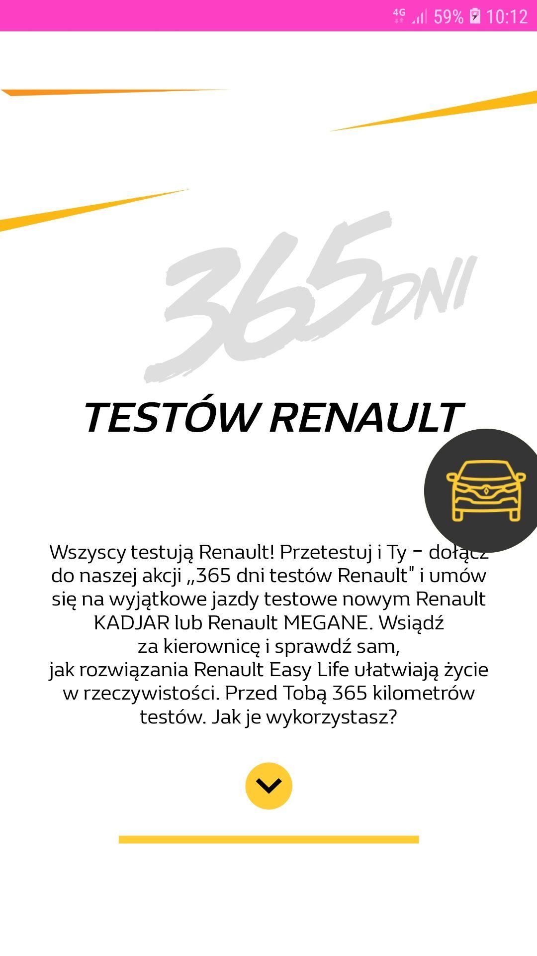 Test nowego samochodu marki Renault.