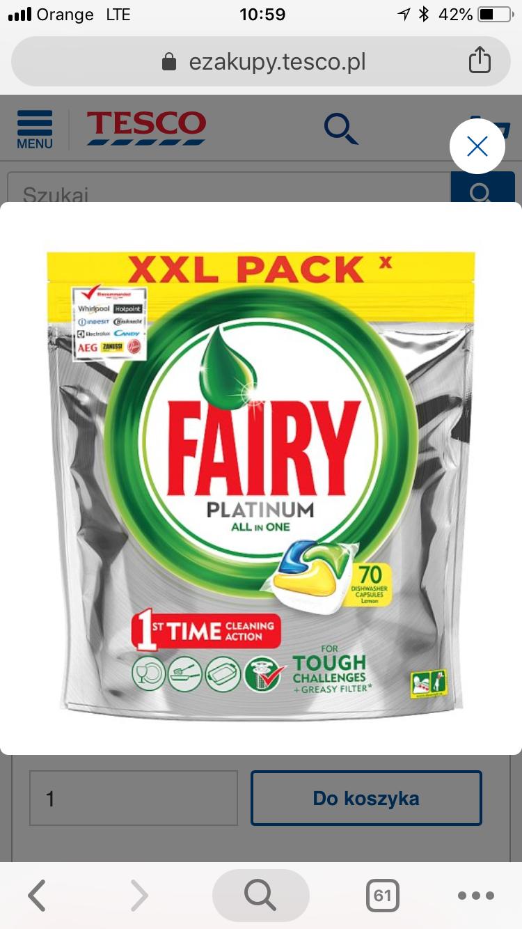 Kapsułki Fairy Platinum 90 sztuk Lidl
