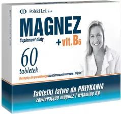 Najtańszy Magnez + Vitamina B6 Tabletki, 60 szt POLSKI LEK