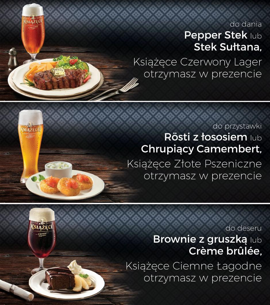 Piwo Książęce do wybranych dań z karty (lub do deserów) we wtorki GRATIS @ Sphinx