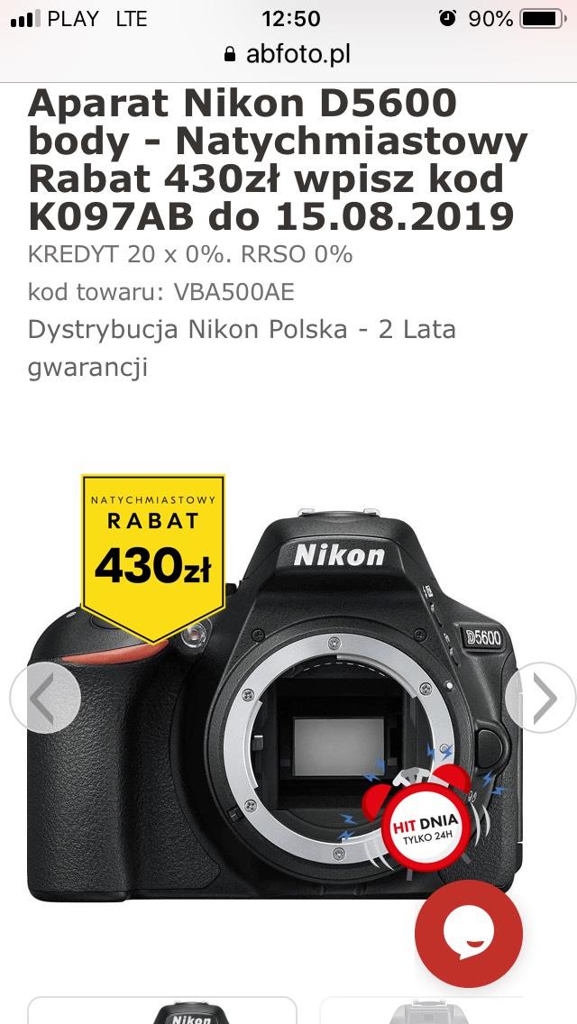 Aparat Nikon D5600 body - cena po rabacie 1792 zł
