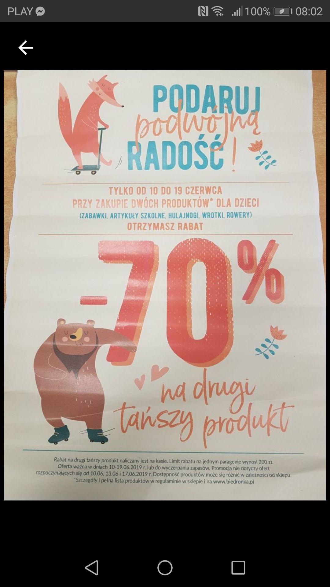 Biedronka rabat - 70% na drugi tańszy produkt dla dzieci (zabawki, art. szkolne, hulajnogi wrotki, rowery)