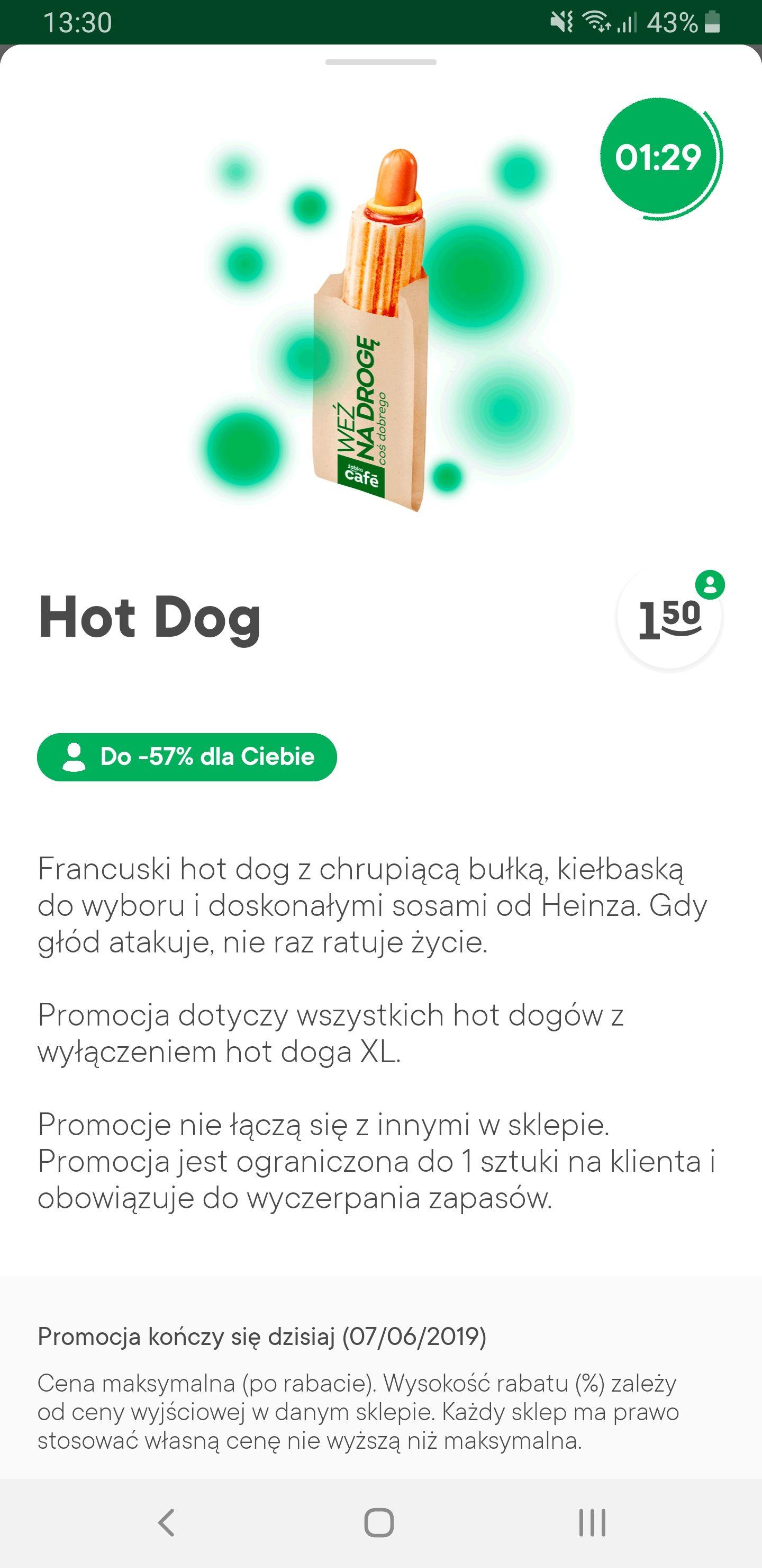 Hotdog taniej w żabce do godz 15:00 (zappka)