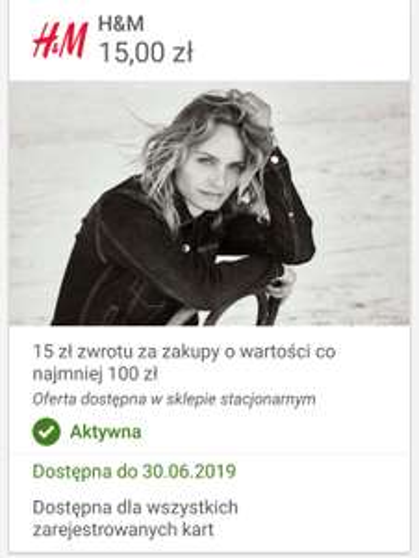 Visa Oferty - H&M 15 zł zwrot przy zakupie 100 zł STACJONARNIE