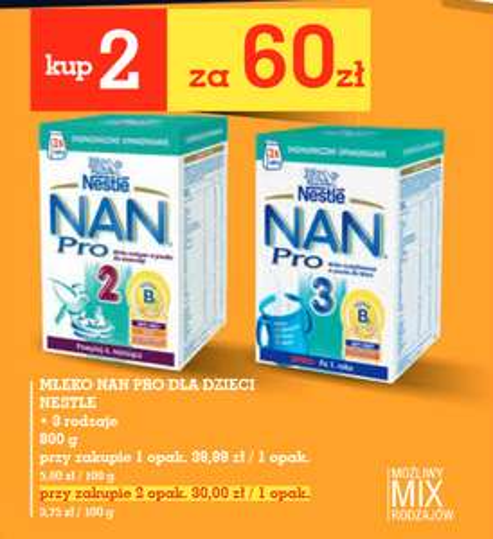 Mleko Nestle NAN Pro 2x800g za 60zł @ Intermarche