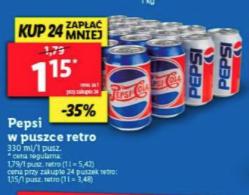 Pepsi puszka cena przy 24 sztukach @Lidl