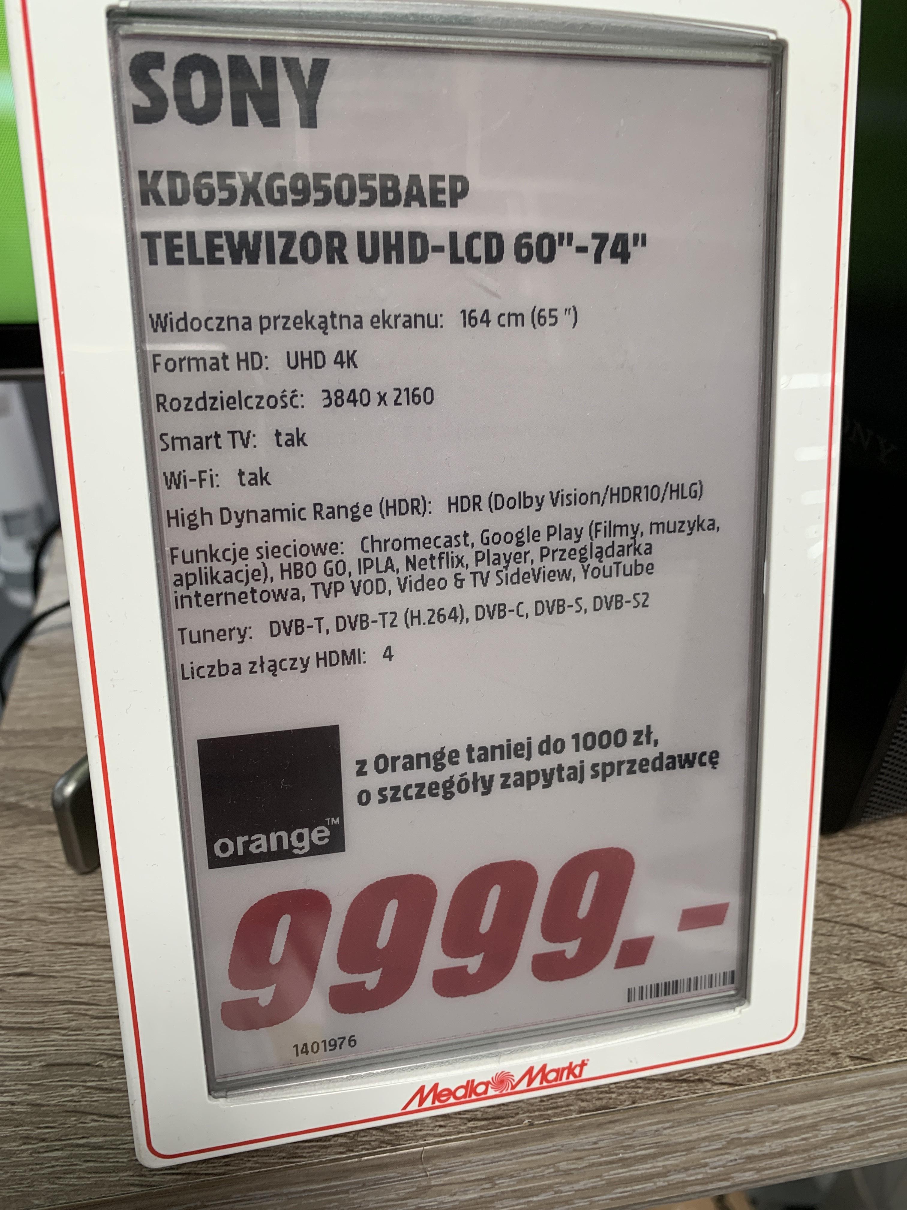 Sony 65XG9505 taniej o ponad 2000zł