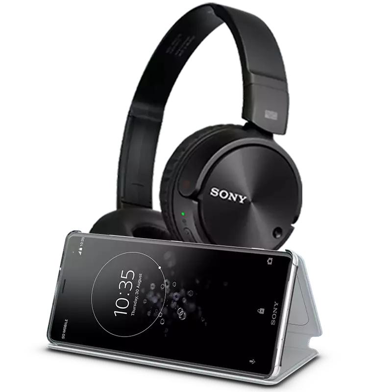 Sony Xperia XA2 + etui Sony stand cover + słuchawki