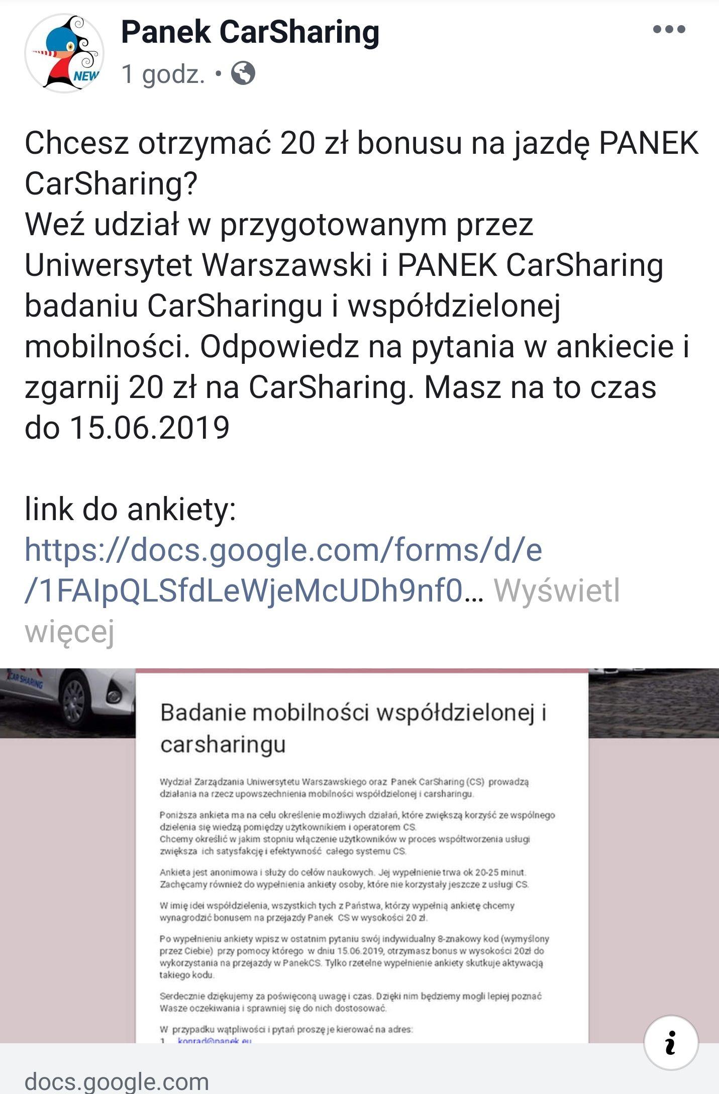 Panek CarSharing  - voucher 20 zł za wypełnienie ankiety