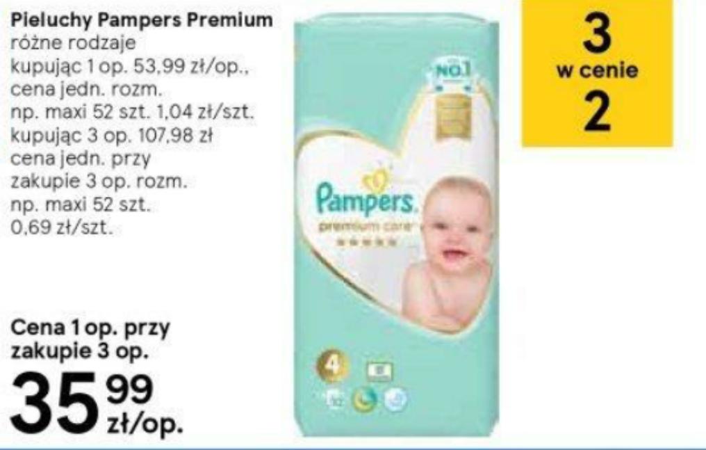 Pieluchy Pampers premium Care w Tesco 3 w cenie 2