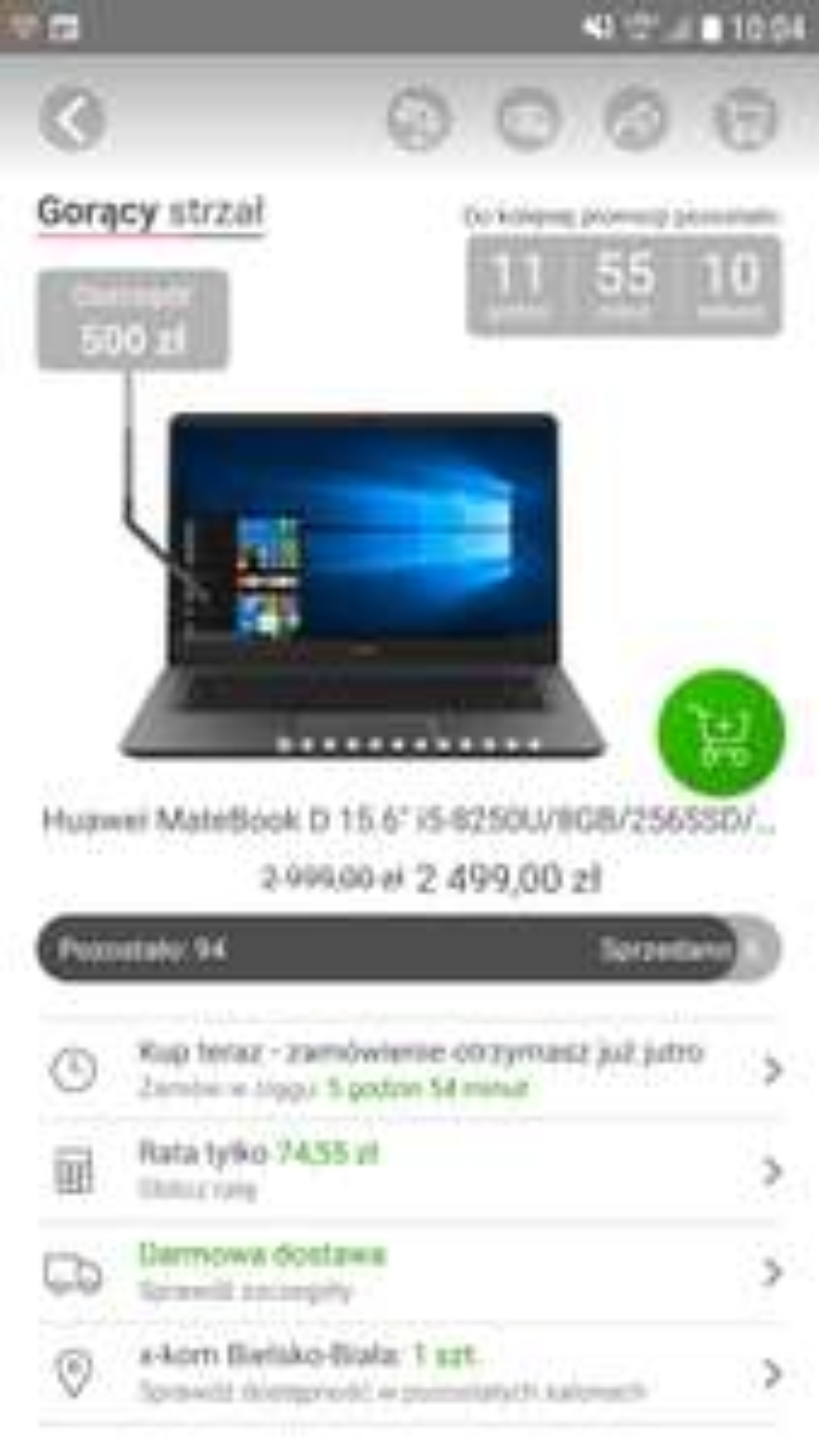 Huawei MateBook D 15.6 w gorącym strzale 500zł taniej.