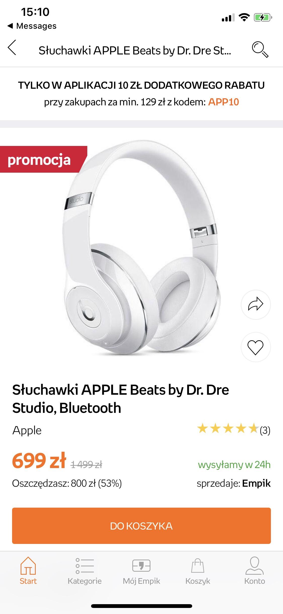 Słuchawki Beats by Dr. Dre Studio Białe