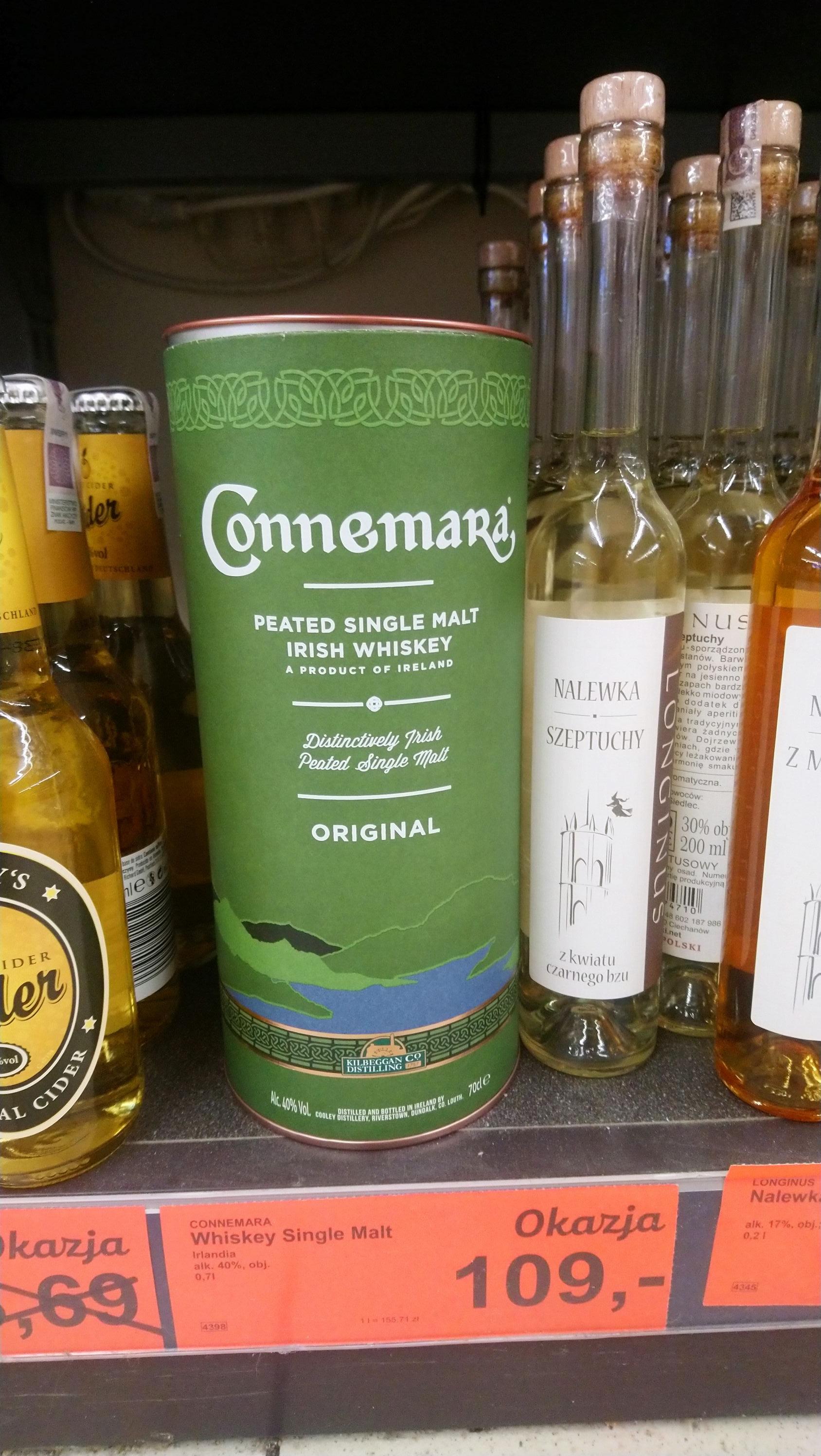 Connemara Irlandzka Whiskey single malt, piękna puszka 0,7l Aldi Toruń