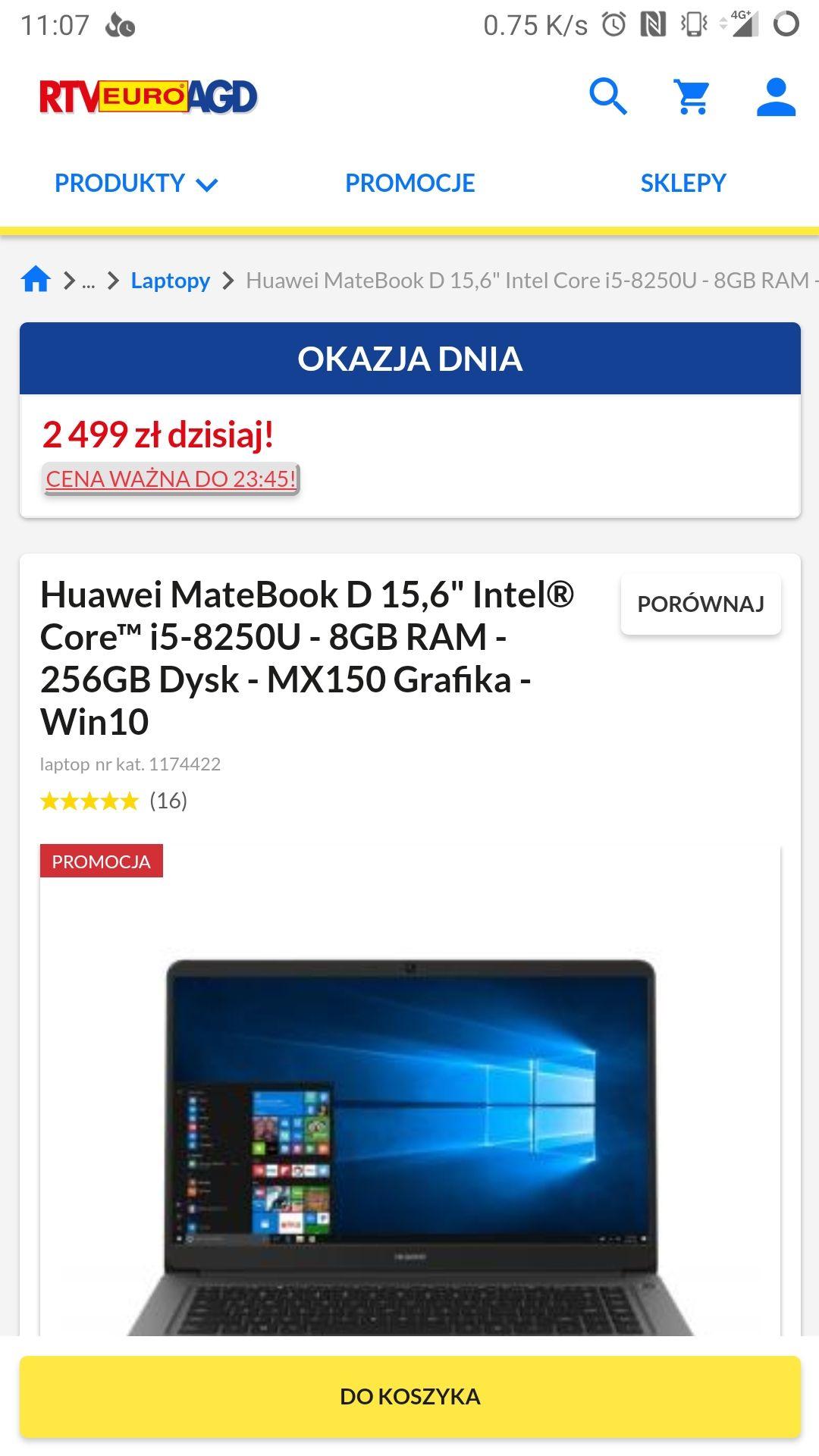 """Huawei MateBook D 15,6"""" i5-8250U - 8GB RAM - 256GB Dysk - MX150 Grafika"""